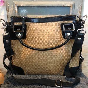 Donald J Pliner trade trimmed leather bag